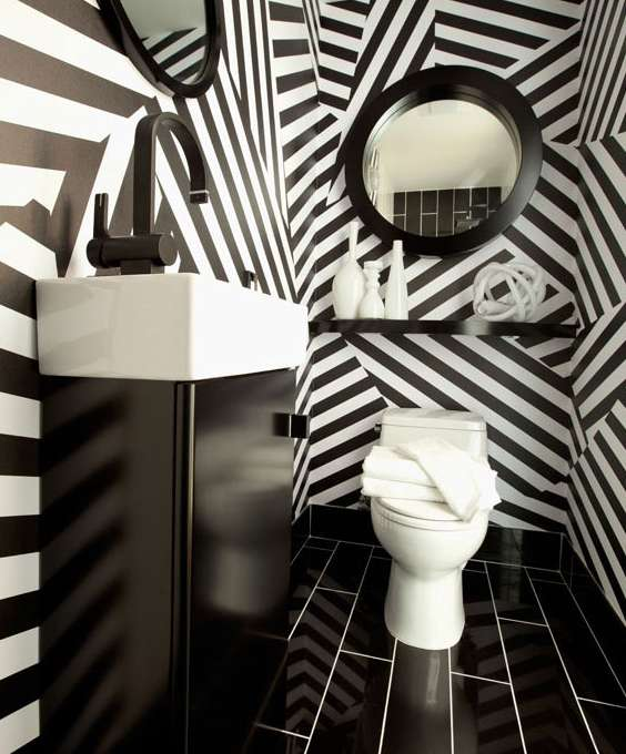 Black And White Powder Room: Choosing Big Styles For Small Spaces