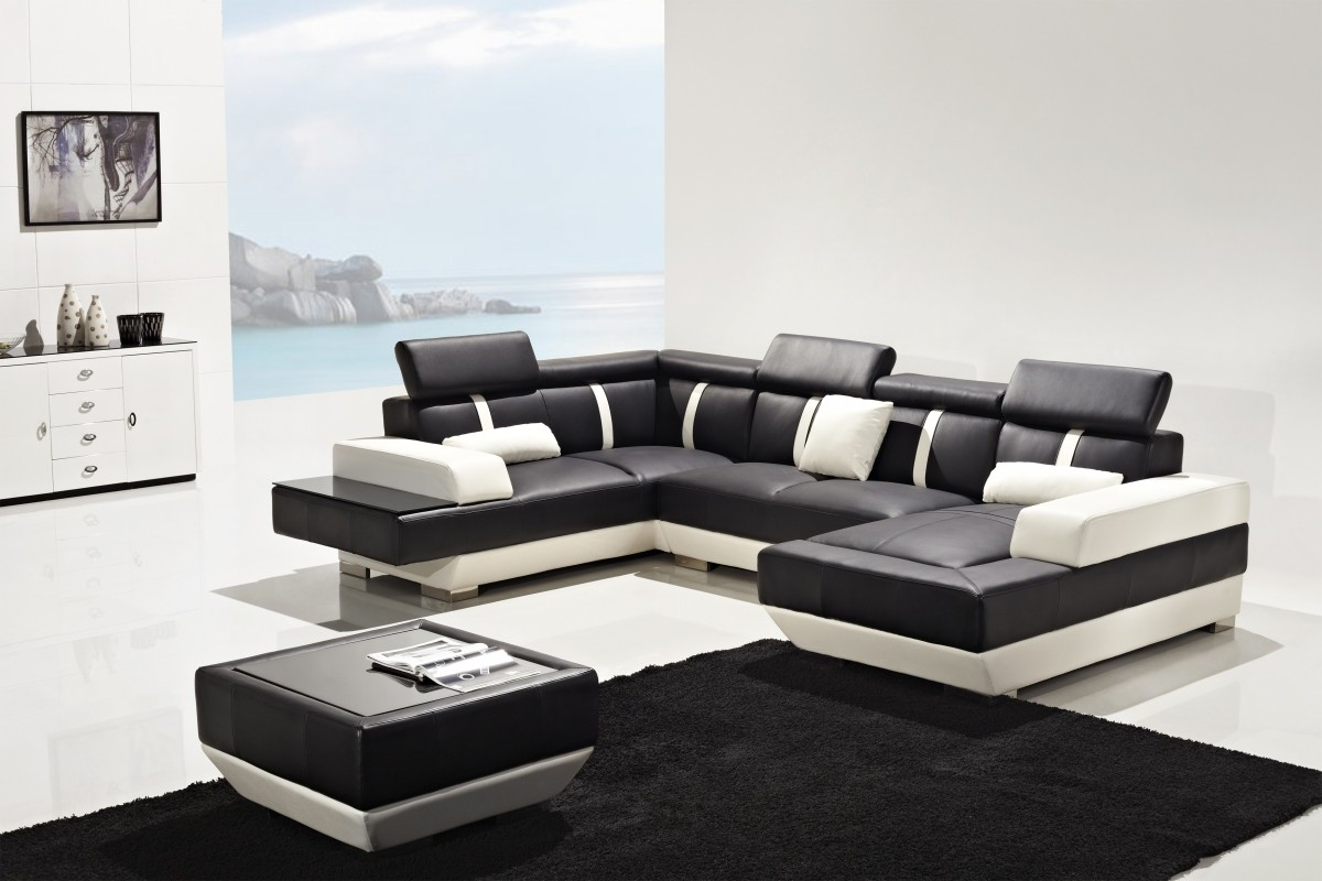 Leather sofa black and white