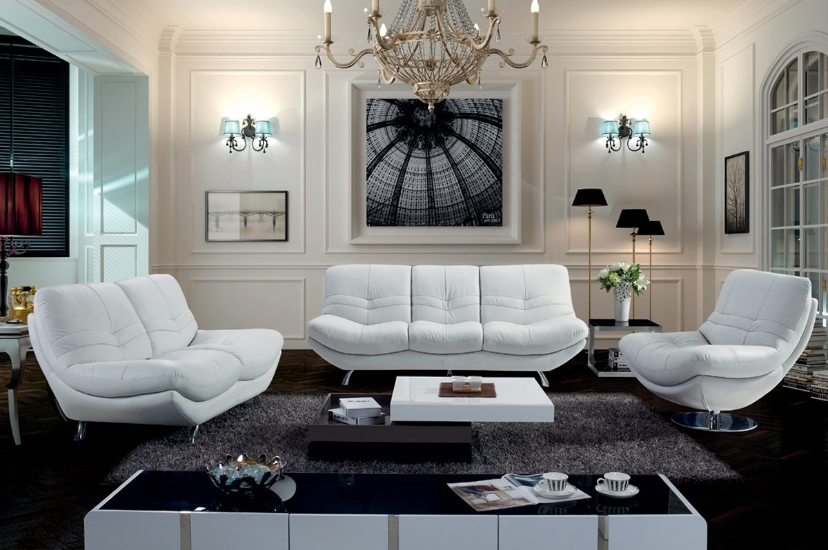 White Round Leather Sofa