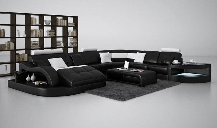 sofa white sectional couches leather black modern couch