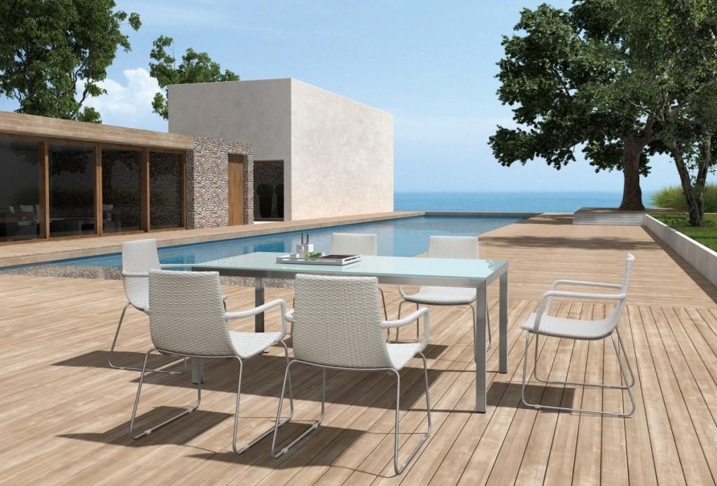Enjoy a relaxed dining on the patio with modern furniture for Outdoor dining chairs modern