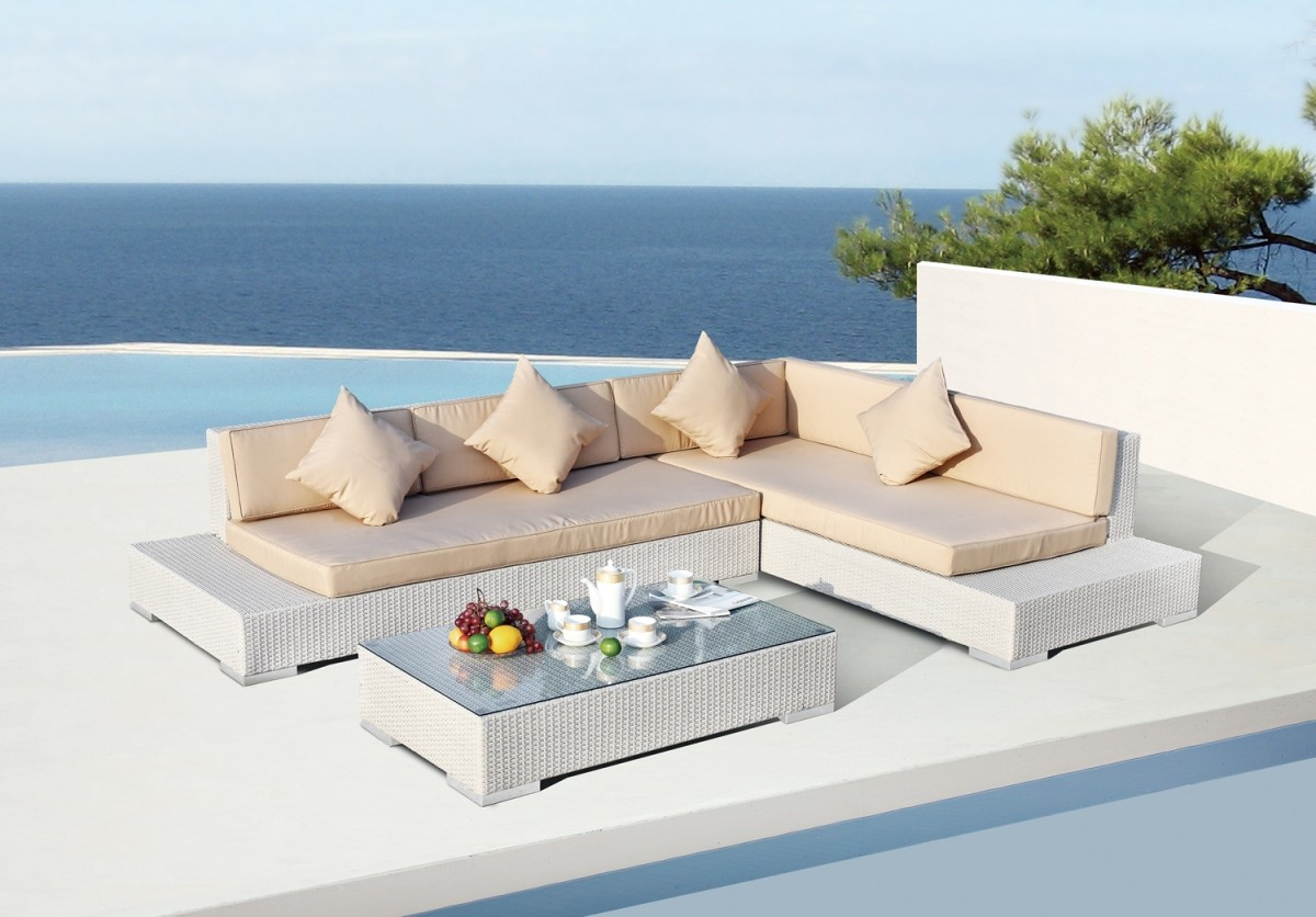 White and Beige Patio Furniture