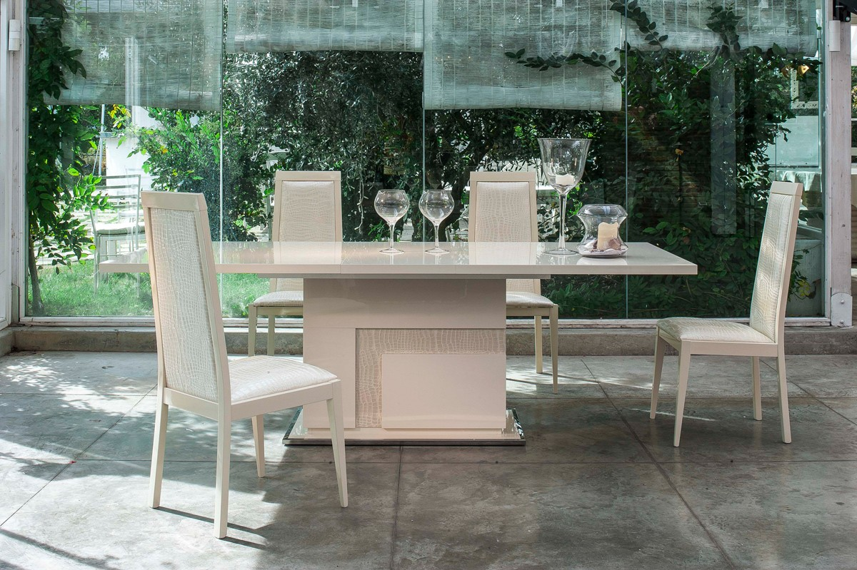 Ancona Table Beige Web. Expandable Dining Table