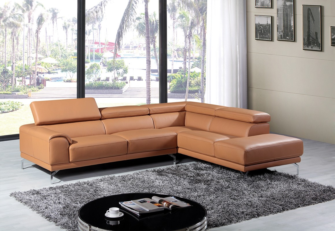 Ergonomic Home Furniture Enchanting With Camel Leather Sectional Sofa Image