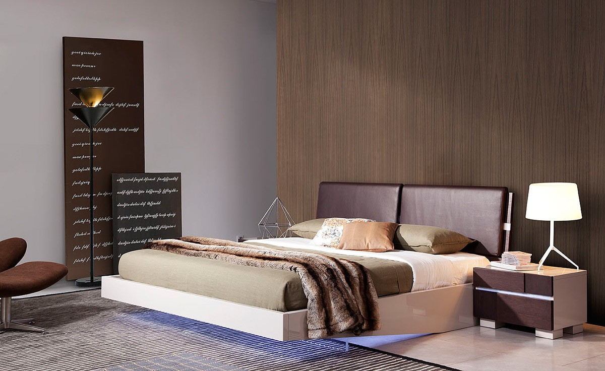 Anzio Contemporary Floating Bed W Led Lights
