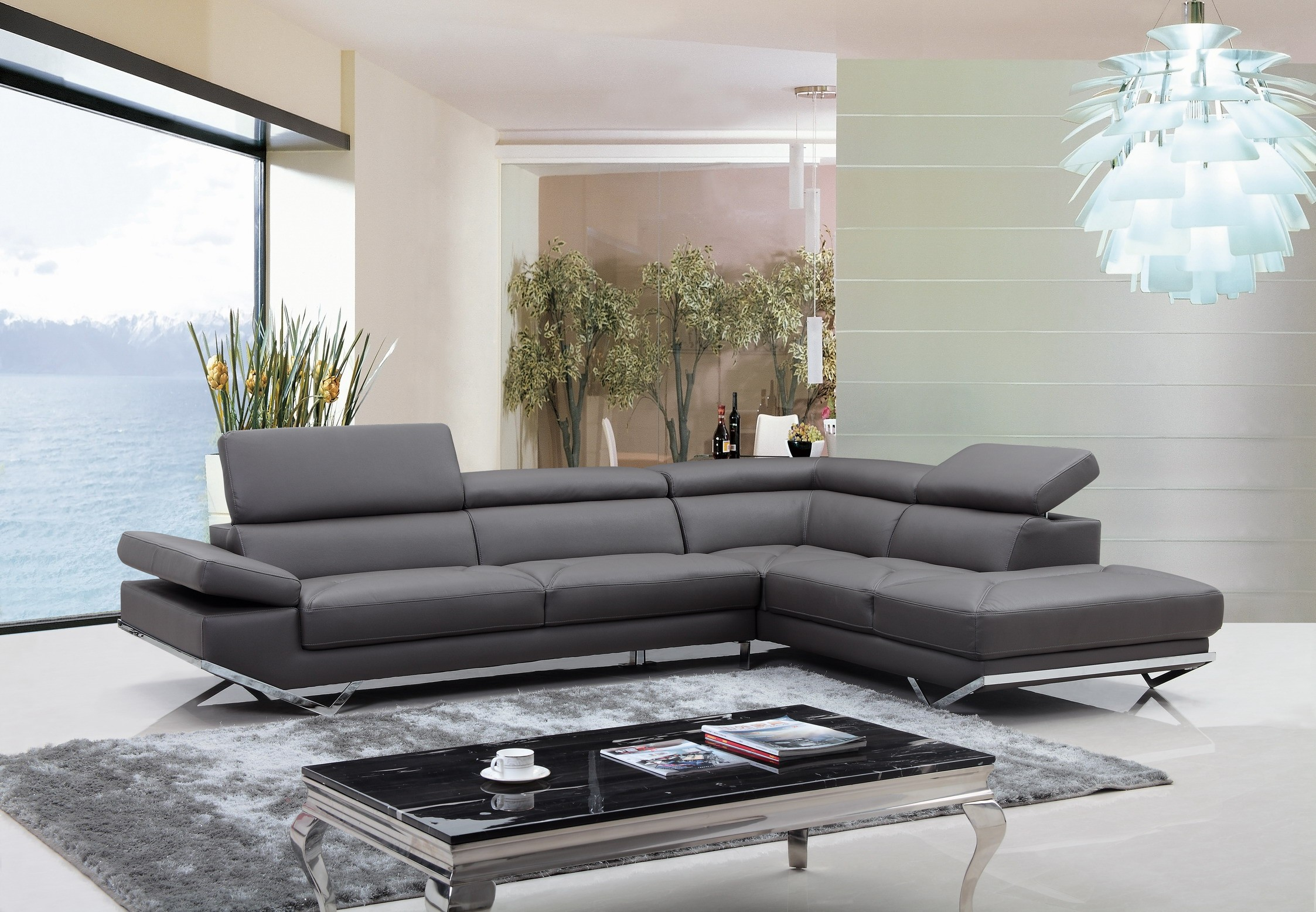 Divani Casa Quebec Modern Dark Grey Eco Leather Sectional Sofa