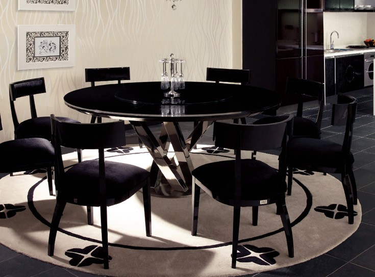 Round Dining Table For 6 With Lazy Susan useful tips on the size of modern dining table - la furniture blog