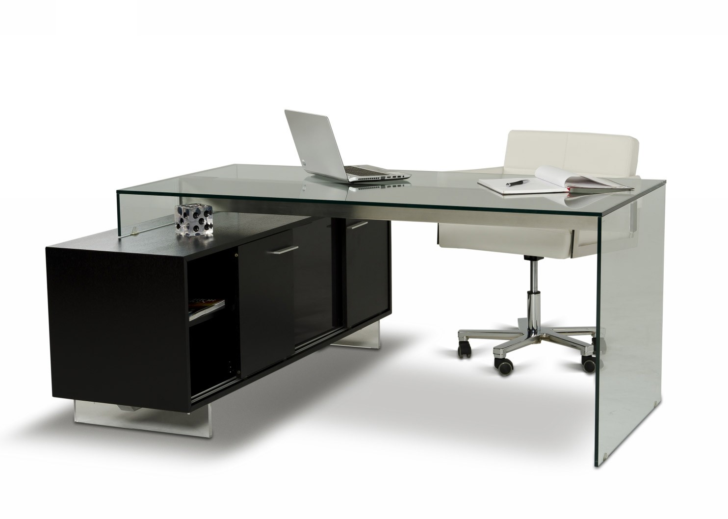 Modern office table with glass top - Main_2_1