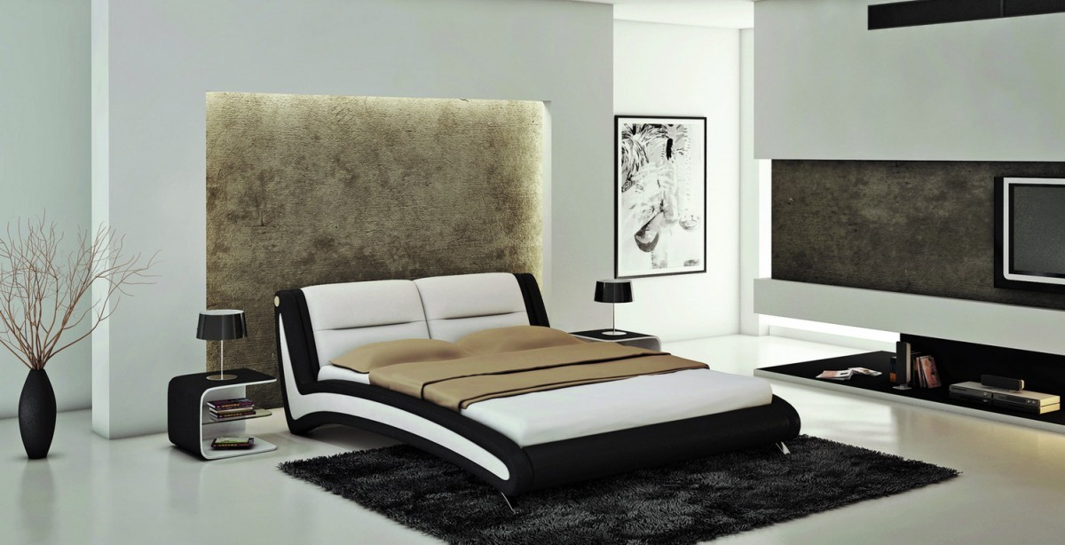 j211 black white  1. Black and White Bedroom Theme via Modern Furniture   LA Furniture Blog