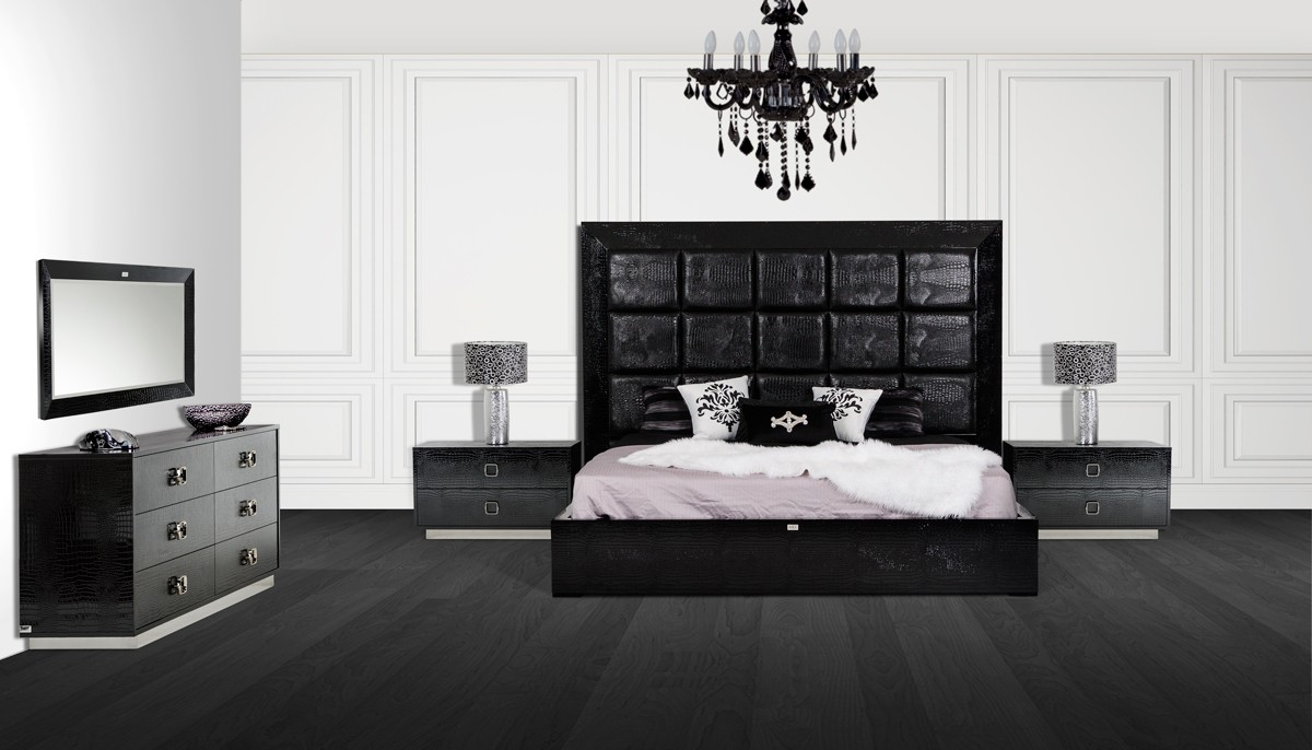 white modern bedroom furniture.  victoria dsc 2497 Black and White Bedroom Theme via Modern Furniture LA Blog