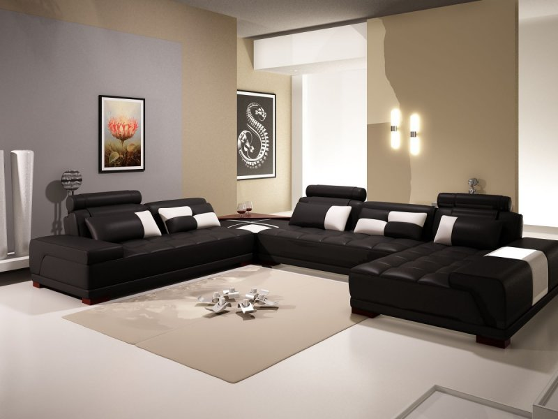 Light Beige Colored Walls Is A Perfect Combination With Black Modern Living  Room Furniture. Choose Decorations That Are In The Brown Shade.