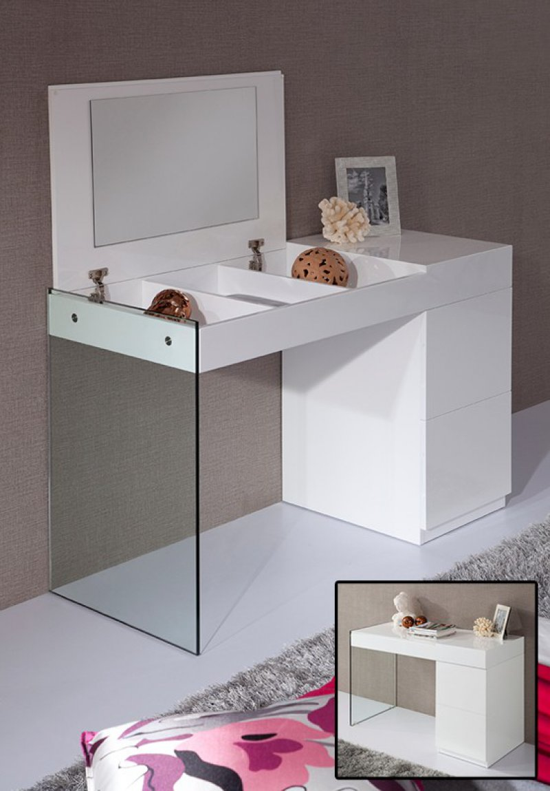 Volare Modern White Floating Glass Vanity W Mirror