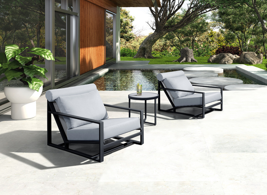 Renava Boardwalk Outdoor Grey Lounge Chair Set