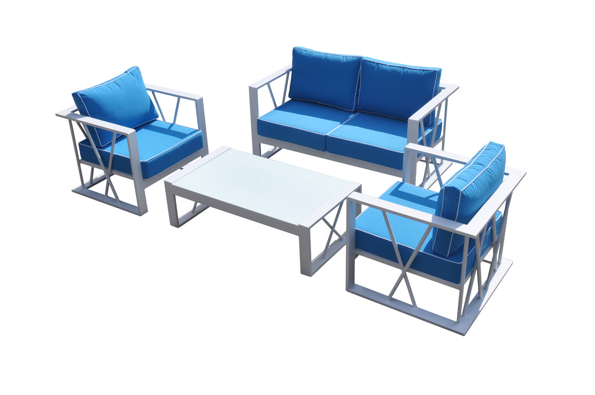 Renava Palms Outdoor Furniture Blue & White Sofa Set