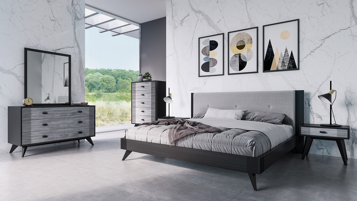 Nova Domus Panther Contemporary Grey Black Bedroom Set